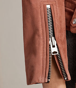 Femmes Suede Cole Biker Jacket (ROSE PINK) - product_image_alt_text_5