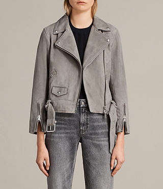 Damen Suede Cole Biker Jacket (Dark Grey) -
