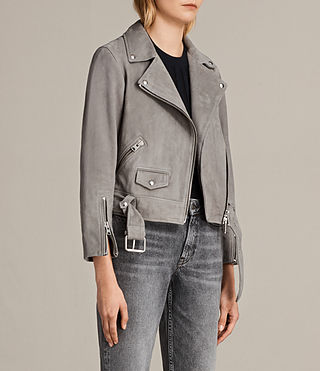 Women's Suede Cole Biker Jacket (Dark Grey) - Image 6