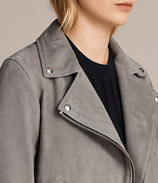 Women's Suede Cole Biker Jacket (Dark Grey) - Image 7