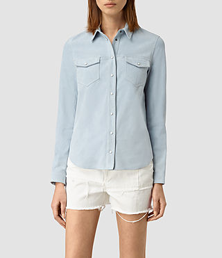 Womens Lester Suede Shirt (Sky Blue)