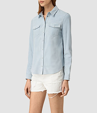 Womens Lester Suede Shirt (Sky Blue) - product_image_alt_text_2