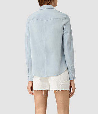 Womens Lester Suede Shirt (Sky Blue) - product_image_alt_text_3