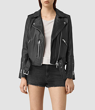 Femmes Balfern Palm Leather Biker Jacket (Black)