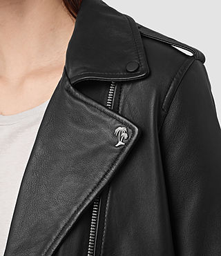Womens Balfern Palm Leather Biker Jacket (Black) - product_image_alt_text_2