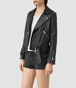 Women's Balfern Palm Leather Biker Jacket (Black) - product_image_alt_text_3