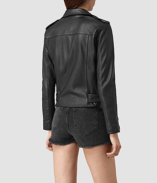 Womens Balfern Palm Leather Biker Jacket (Black) - product_image_alt_text_4