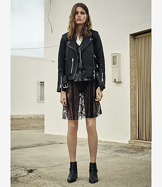 Mujer Balfern Palm Leather Biker Jacket (Black) - product_image_alt_text_5