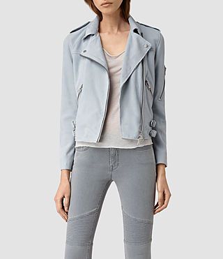Womens Latham Leather Biker Jacket (Sky Blue)