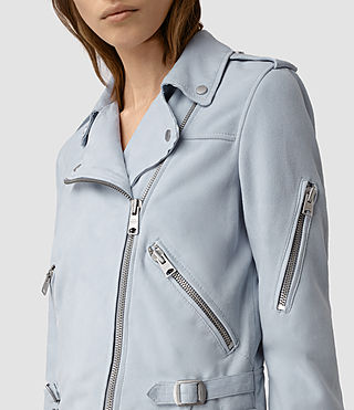 Donne Latham Suede Biker Jacket (Sky Blue) - product_image_alt_text_2
