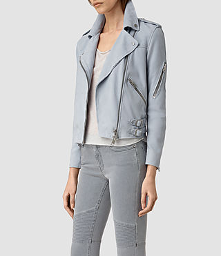 Donne Latham Suede Biker Jacket (Sky Blue) - product_image_alt_text_3