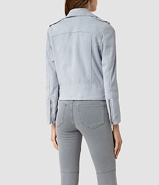 Donne Latham Suede Biker Jacket (Sky Blue) - product_image_alt_text_4