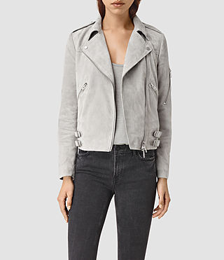 Damen Latham Suede Biker Jacket (Pebble)