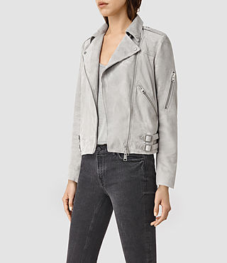 Mujer Latham Suede Biker Jacket (Pebble) - product_image_alt_text_3