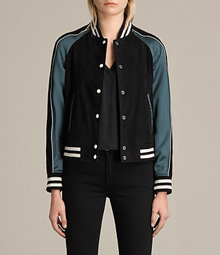 Womens Epton Suede Bomber Jacket (BLACK/PETROL BLUE)