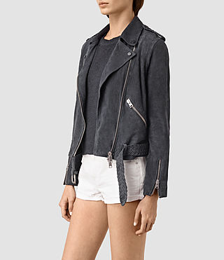 Mujer Braided Wyatt Biker Jacket (Petrol Blue) - product_image_alt_text_3