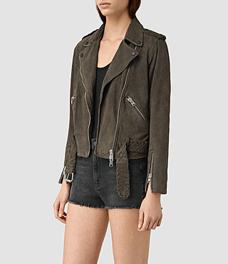 Women's Braided Wyatt Biker Jacket (GRANITE GREY) - product_image_alt_text_3