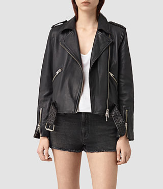 Womens Braided Wyatt Leather Biker (Black)