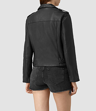 Mujer Braided Wyatt Biker Jacket (Black) - product_image_alt_text_4
