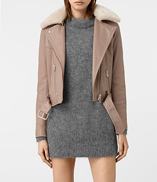 Damen Rigby Leather Biker Jacket (FIG PINK)