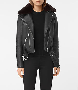 Women's Rigby Leather Biker Jacket (Black)