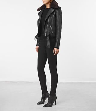 Womens Rigby Leather Biker Jacket (Black) - product_image_alt_text_2