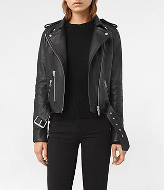 Womens Rigby Leather Biker Jacket (Black) - product_image_alt_text_3
