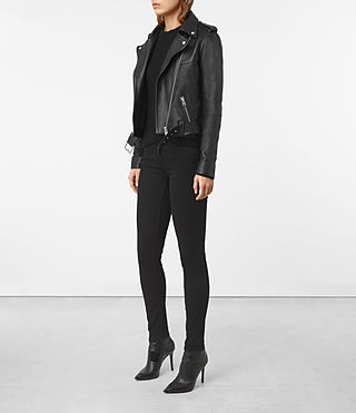 Womens Rigby Leather Biker Jacket (Black) - product_image_alt_text_5