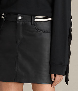 Women's Holbeck Rib Leather Skirt (Black) - product_image_alt_text_3