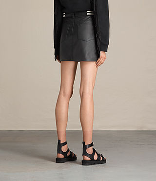 Women's Holbeck Rib Leather Skirt (Black) - product_image_alt_text_4