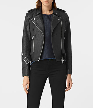 Damen Stayte Leather Biker Jacket (Black)