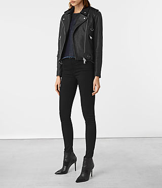 Womens Stayte Leather Biker Jacket (Black) - product_image_alt_text_2