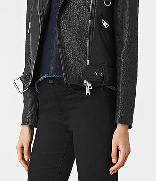 Womens Stayte Leather Biker Jacket (Black) - product_image_alt_text_3
