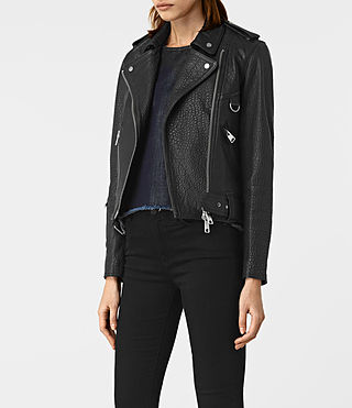 Womens Stayte Leather Biker Jacket (Black) - product_image_alt_text_4