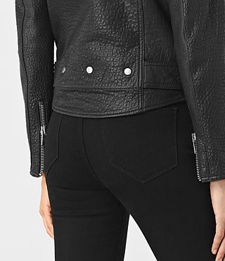 Womens Stayte Leather Biker Jacket (Black) - product_image_alt_text_5