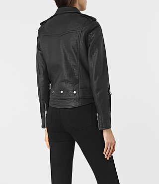 Womens Stayte Leather Biker Jacket (Black) - product_image_alt_text_6