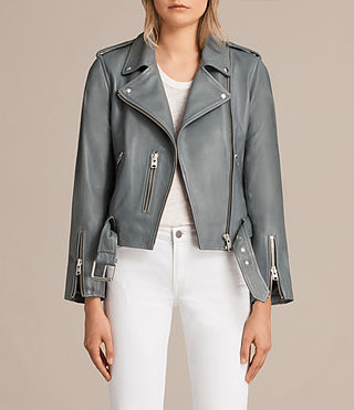 Damen Balfern Leather Biker Jacket (SLATE BLUE) - Image 1