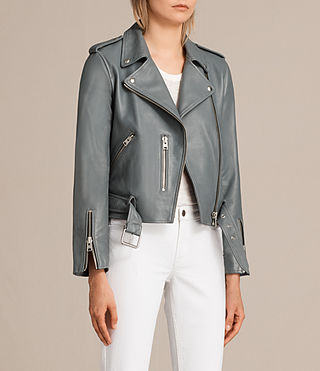 Damen Balfern Leather Biker Jacket (SLATE BLUE) - Image 2