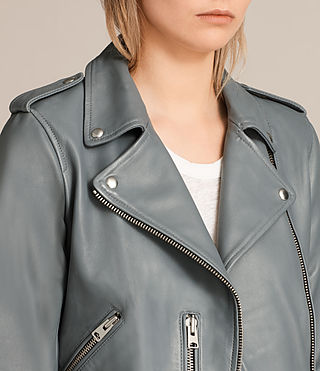 Damen Balfern Leather Biker Jacket (SLATE BLUE) - Image 5