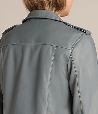 Damen Balfern Leather Biker Jacket (SLATE BLUE) - Image 6