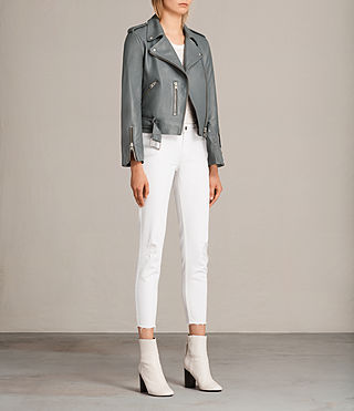 Damen Balfern Leather Biker Jacket (SLATE BLUE) - Image 7