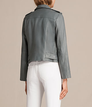 Damen Balfern Leather Biker Jacket (SLATE BLUE) - Image 8