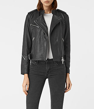 Women's Atkinson Leather Biker Jacket (Black) -
