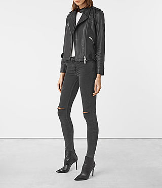Women's Atkinson Leather Biker Jacket (Black) - product_image_alt_text_2