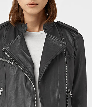Women's Atkinson Leather Biker Jacket (Black) - product_image_alt_text_3