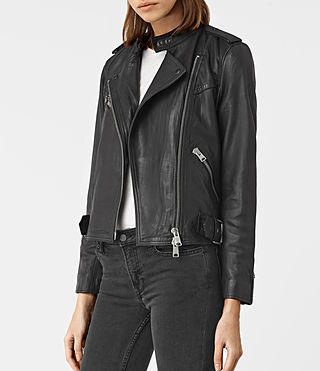 Women's Atkinson Leather Biker Jacket (Black) - product_image_alt_text_4