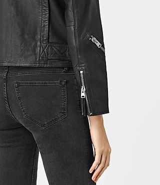 Women's Atkinson Leather Biker Jacket (Black) - product_image_alt_text_5