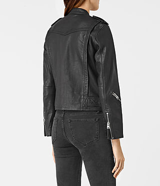 Women's Atkinson Leather Biker Jacket (Black) - product_image_alt_text_6