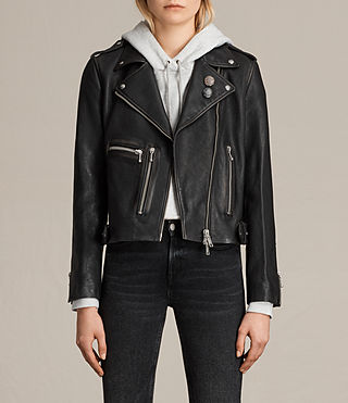 Damen Milne Vintage Leather Biker Jacket (Black)