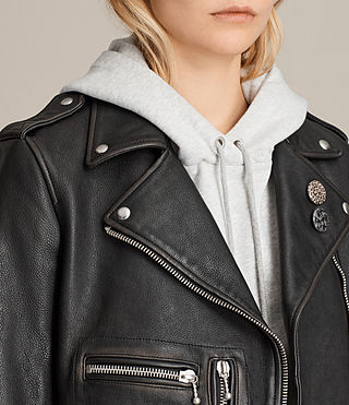 Womens Milne Vintage Leather Biker Jacket (Black) - product_image_alt_text_2
